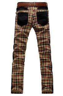 2012 new free shipping Mens / men plaid pants / Jeans / Pants Khaki yellow X8810P70