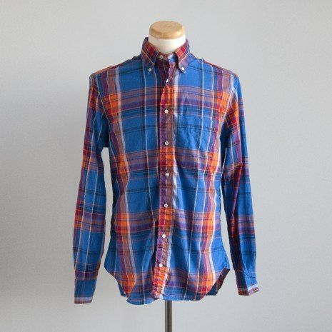 Gitman Brothers Vintage - Indian Cotton Madras Button Down in Royal