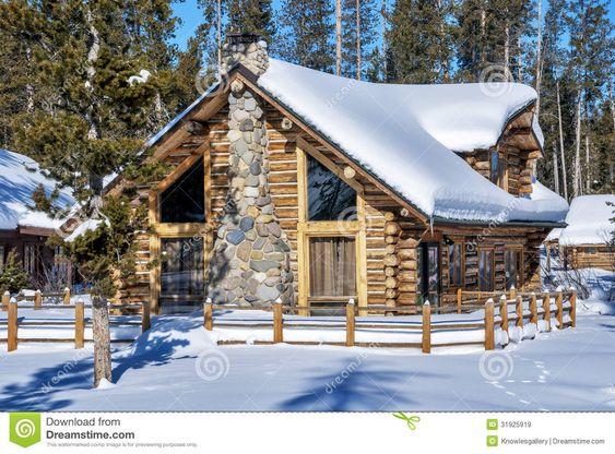 Idaho cabanas de madeira and toras on pinterest - Cabana invierno ...