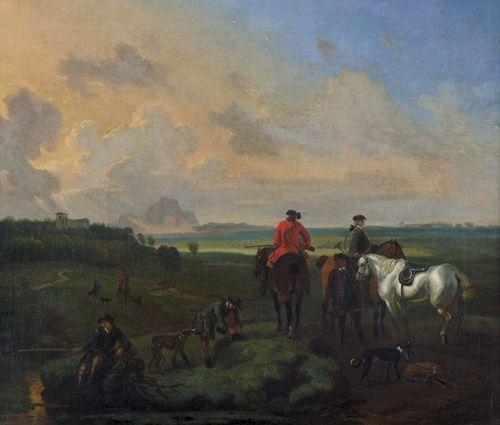 "Landschaft mit einer kleinen Jagdgesellschaft bei der Rast. Öl auf Leinwand, doubliert. 54 x 63 cm. Unten rechts signiert ""D. Maas""."