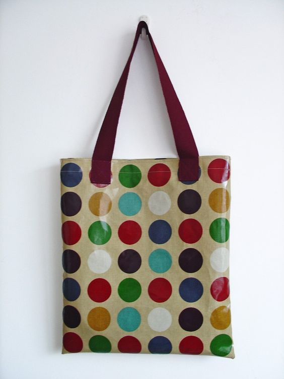 Library Tote /  Shopping Bag in jewel with purple dots by dottyspotts. $25.00, via Etsy.