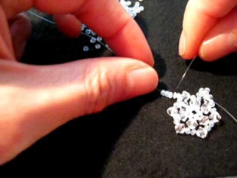 How to make a Snowflake ring with Crystal Beads