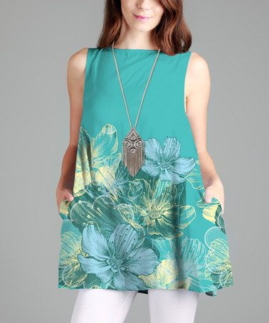This Turquoise Floral A-Line Tunic is perfect! #zulilyfinds