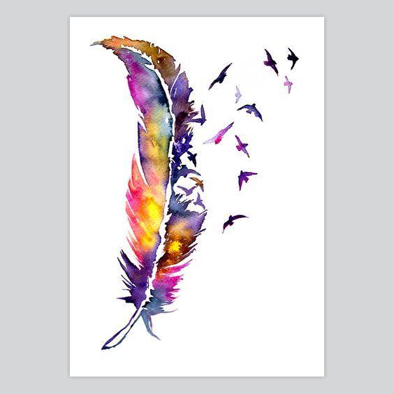 Watercolor Art Print Feather In 2020 Watercolor Art Watercolor
