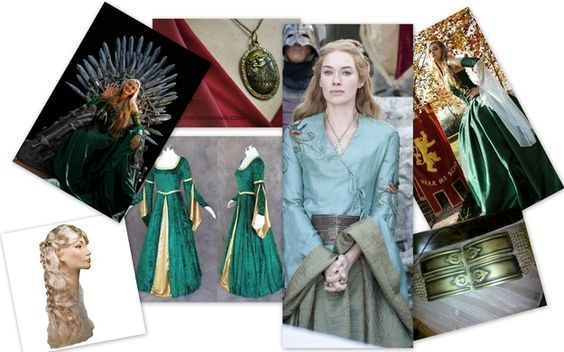 "Cersei Lannister - What you'll need:  1. Green, medieval dress 2. Long, luscious, golden hair 3. Golden belt 4. Necklace with a lion pendant 5. Unbridled ambition |  Awesome ""Game Of Thrones"" Women To Be For Halloween"