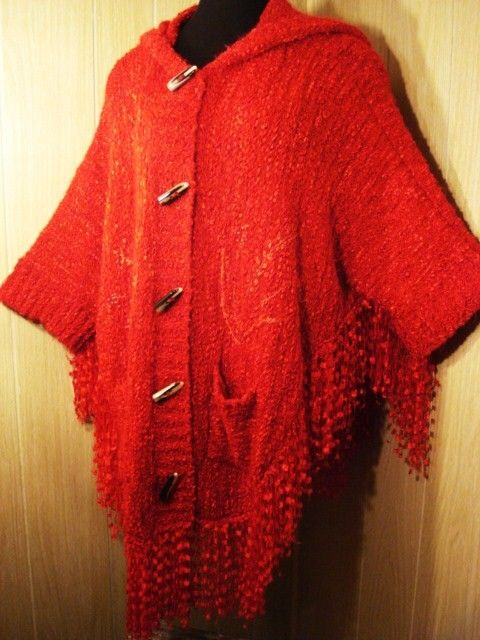 red hooded poncho