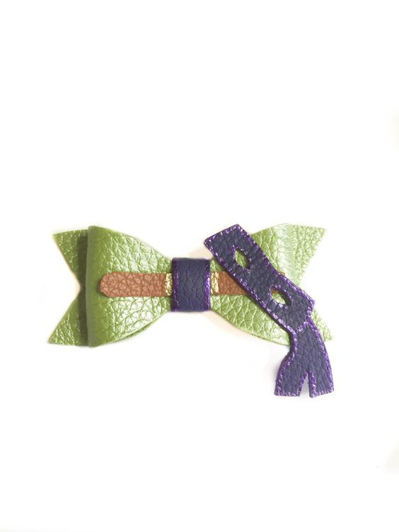 A personal favorite from my Etsy shop https://www.etsy.com/listing/241056793/ninja-turtle-bow-donatello-hair-bow