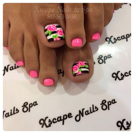 Hot pink floral design over stripes toe nails...x