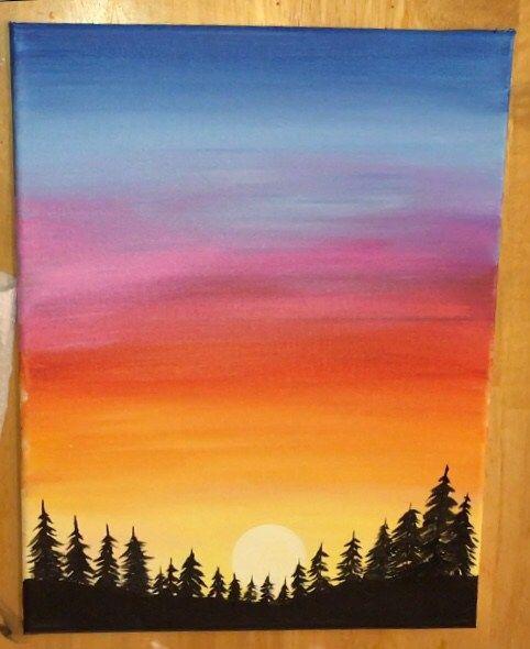 Easy Mountain Sunset Painting : mountain, sunset, painting, Sunset, Painting, Learn, Paint, Acrylics, Painting,, Canvas, Mountain