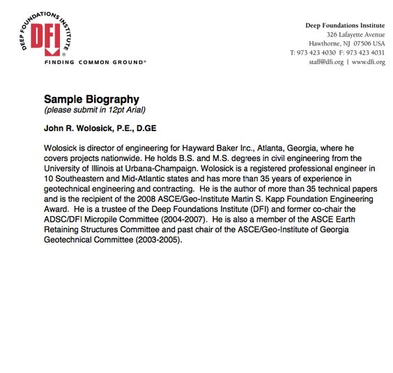 short biography samples - http\/\/resumesdesign\/short-biography - resume biography sample