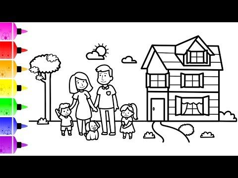 How To Draw Happy Family Near New House For Kids Rocket Coloring Page For Children Youtube Unicorn Coloring Pages Family Drawing Coloring Pages