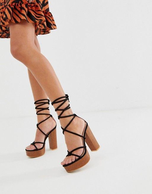 black tie platform sandals