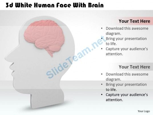 D White Human Face With Brain Ppt Graphics Icons Powerpoint