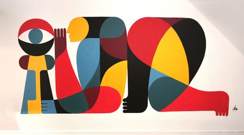 Kneeling Man With KeyBy Remed, acrylic paint on wall. 300x500cm. 2010: