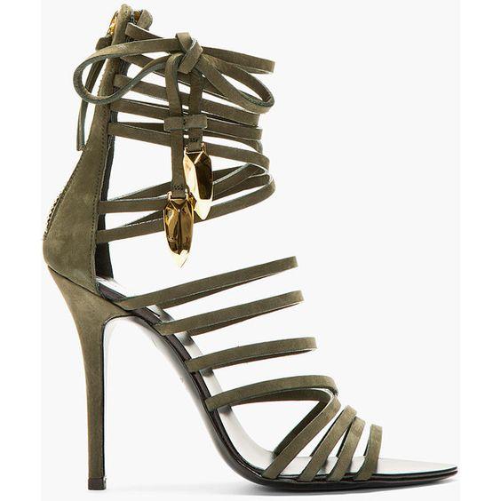 Giuseppe Zanotti Olive Nubuck Gladiator Heels ($1195) ❤ liked on