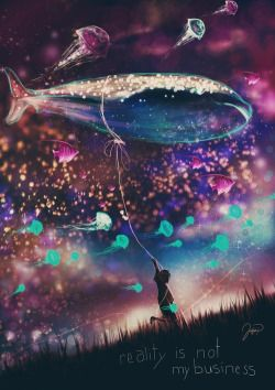 Illustration art animals beautiful sky child dreams night space stars thoughts dark boy blue purple fish fantasy sea whale reality balloon digital art Bubble Jellyfish business glow Digital Painting