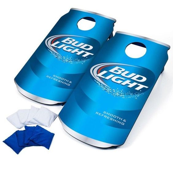 Portable Cornhole Game Bud Light Can Tailgate Party Bean Bag Toss Lawn Game…