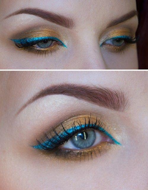 halloweencrafts: DIY Bronze and Blue Eye Makeup by Sandra...