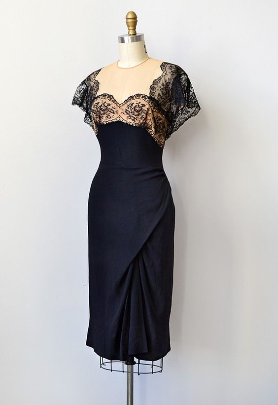 vintage 1950s Peggy Hunt black illusion lace wiggle dress