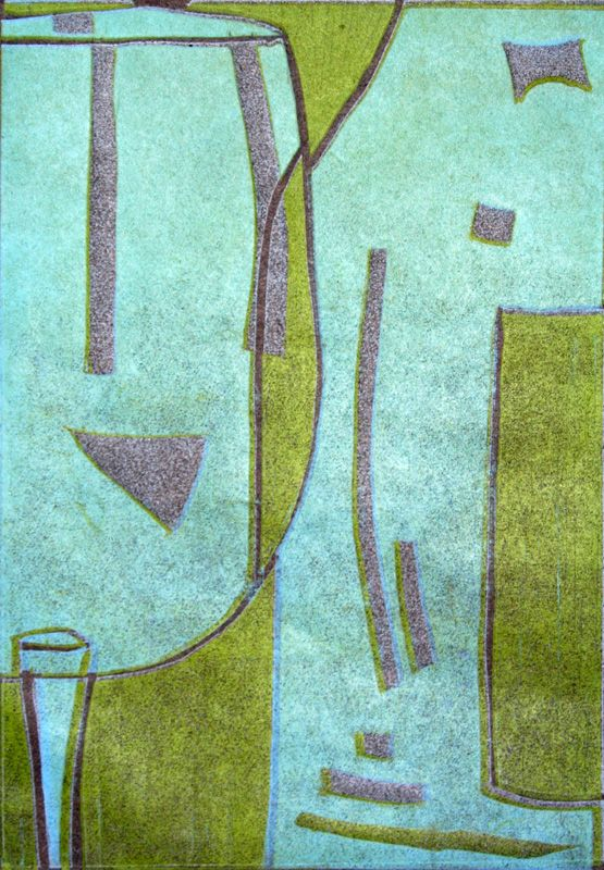 Wine Bottle and Glass Lino Print in Paper