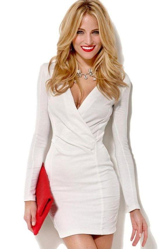 Deep V-Neck Long Sleeve Sexy Mini Semi Formal Dress - Sexy- Sleeve ...