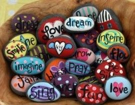 Look how cute these rocks are painted!  So fun!