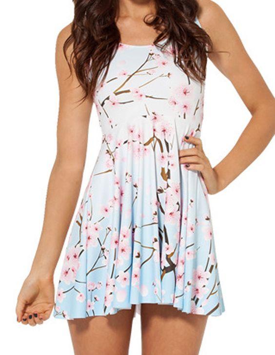 Pretty Branch Cherry Blossom Print Sleeveless Skater Dress