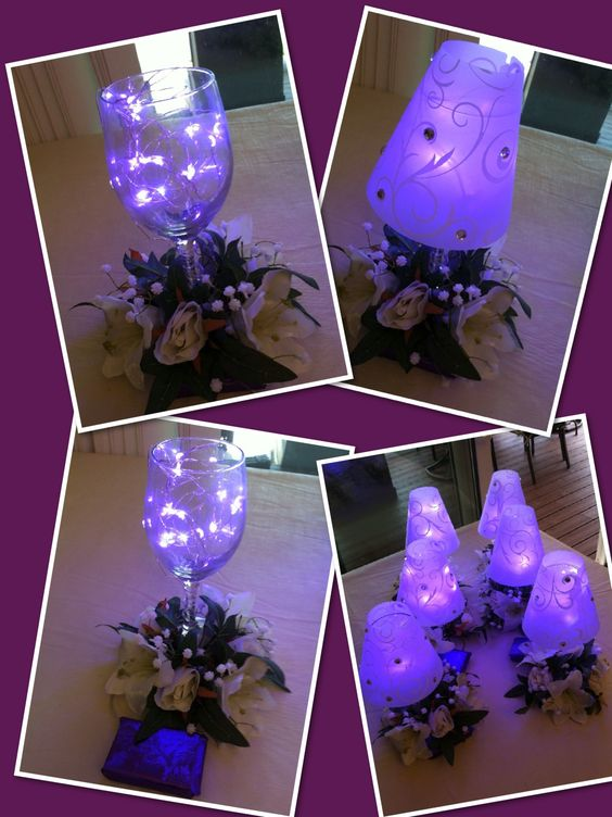 Gets creative using the lights inside of for Wine glass lamp centerpiece