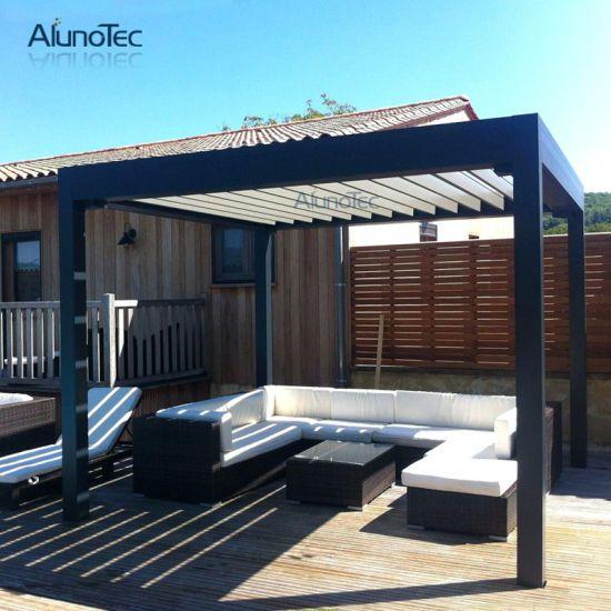Hot Item Alunotec Remote Controlled Pergola With Adjustable Roof Louvers Aluminum Pergola Pergola Covered Pergola