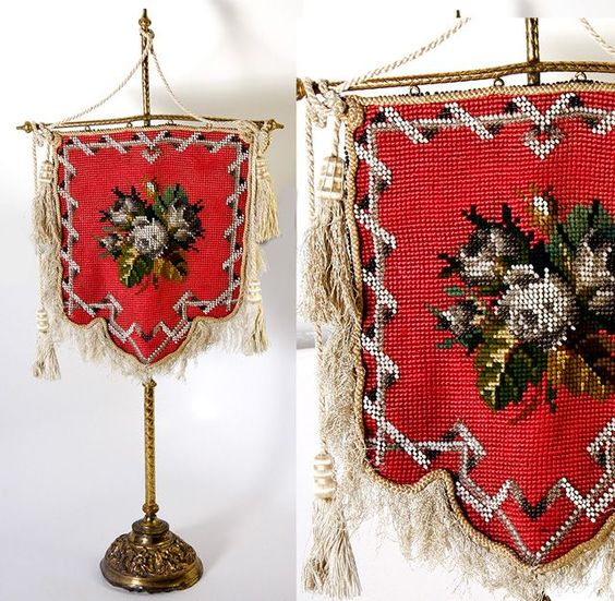 Antique Victorian Needlepoint Beaded Face Screen (Fire Screen) on Stand