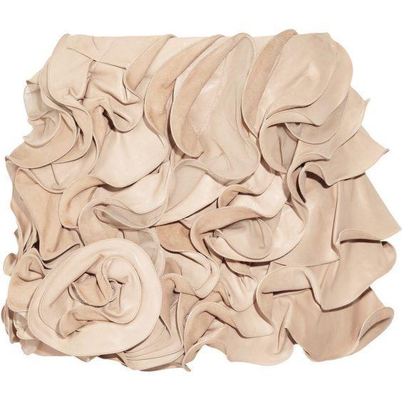 Valentino Ruffled leather and silk-chiffon mini skirt found on Polyvore