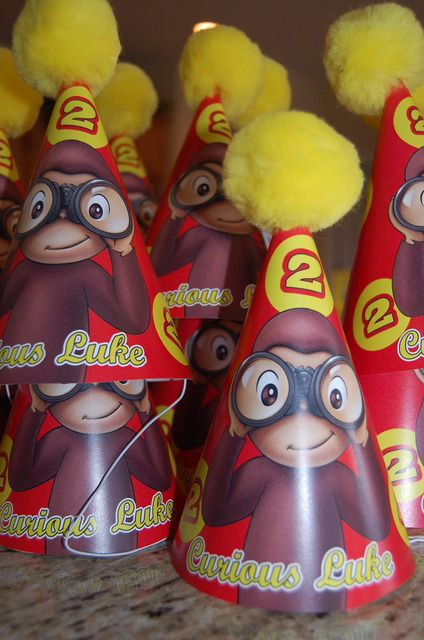 curious george party hats! OMG we need to fine these for Julia! @elise W.: