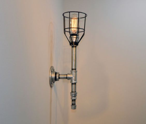 Wall Sconce: Galvanized Malleable Iron by MiltonDouglasLampCo