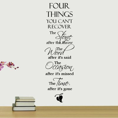DecaltheWalls Four Things You Can't Recover Quote Wall Decal: