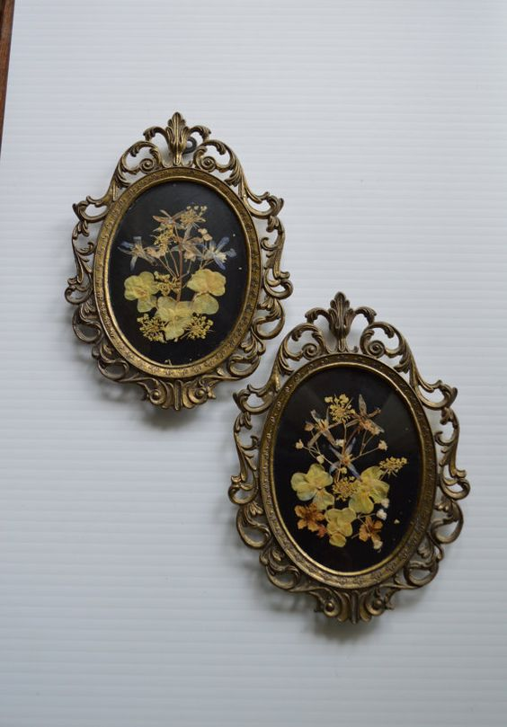 Pair of Vintage Oval Framed Real Pressed Flower by Farmhouseattic