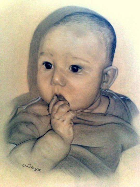 baby portrait, my first go at pastels