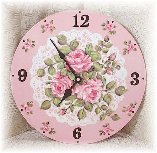 shabby cottage rose clock perfectly pink pinterest. Black Bedroom Furniture Sets. Home Design Ideas