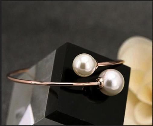18K Rose Gold GP Plated Pearl Office Lady Bangle/Bracelet GZ#097