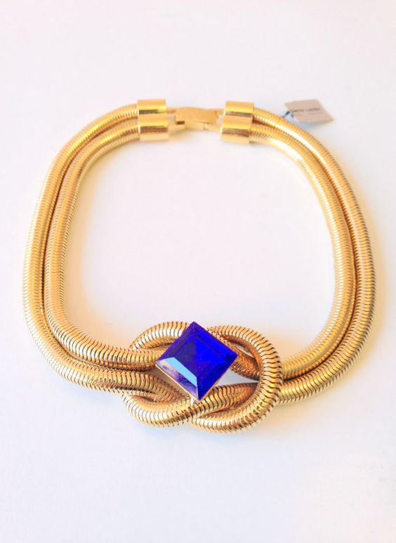 Pierre Cardin Necklace // Vintage Blue Jewel Gold by GodsofVintage