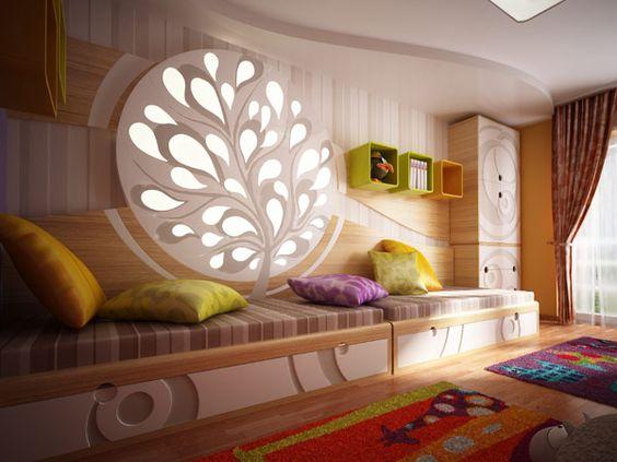 Einzigartige Kinderzimmer zeigen verschiedene Farben und Texturen