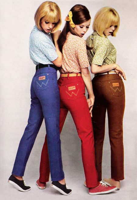 October 1967. 'The silent W says it's Wrangler!' Repinned by www.lecastingparisien.com vintage fashion style color photo print ad colored jeans blue red brown models magazine keds shoes sneakers blouse shirt hair 60s: