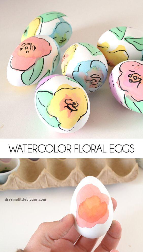 Watercolor Floral Eggs - Dream a Little Bigger: