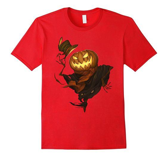 Amazon.com: Evil Scarecrow Pumpkin t-shirt - Male Medium - Red: Clothing