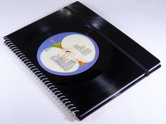 DIN A5 - Notizbuch Schallplatte Beatles upcycling  - ein Designerstück von Aurum bei DaWanda