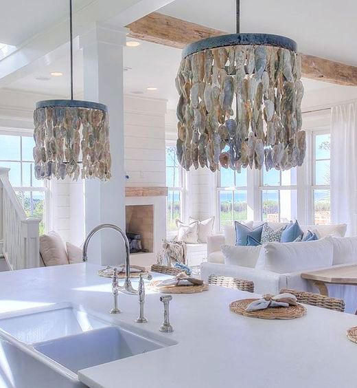 Oyster Shell Lampshade Pendant Lights Coastal Interiors Shell Chandelier Coastal Bedrooms