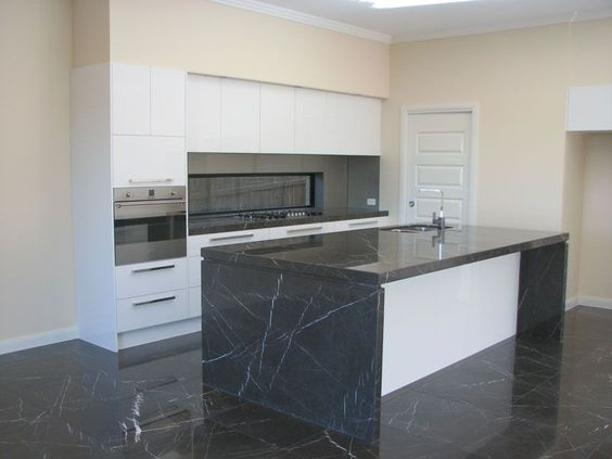 Polished Pietra Grey Marble Benchtop And Honed Pietra Grey