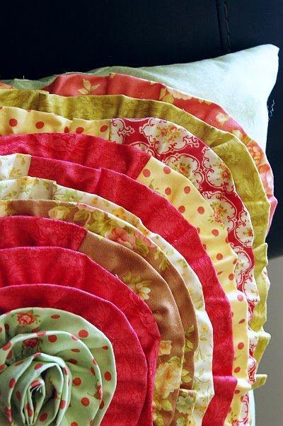 Flower ruffled pillow--fun!