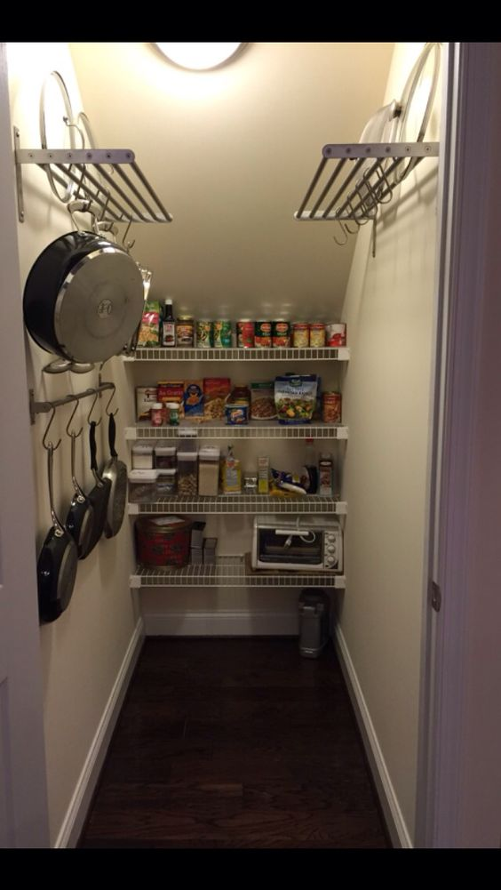 Under stairs pantry ikea shelves rod and hooks make my - Under stairs closet ideas ...