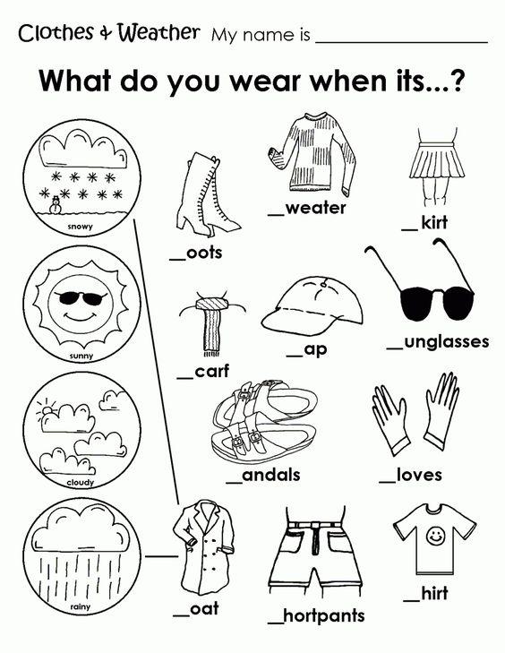 Printable Weather Clothes Worksheet | Teaching | Pinterest ...