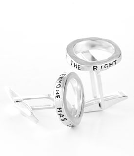 """silver cufflinks with words on it that read """"everyone has the right..."""""""